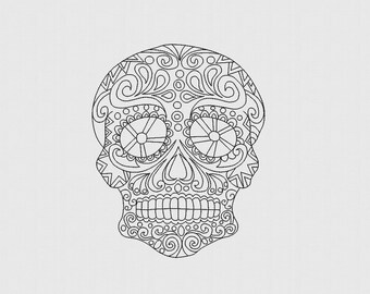 Sugar Skull Zentangle - Día de Muertos - Day of the Dead - Machine Embroidery Design - 9 Formats - Instant download