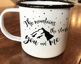 Enamel Camping Mugs - Christmas Gift for Campers - Vintage Enamel Mugs - Engraved Mugs - Mother's Day Gift - Mountains and Stars -
