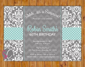 Surprise Birthday Party Invitation Damask Polka Dot Grey Robins Egg Blue 30th 60th 80th Adult Invite 5x7 Digital JPG Printable (580)