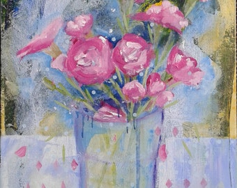 Expressive art flower painting original acrylic pink floral small artwork gift for her housewarming birthday summer gift impressionist art