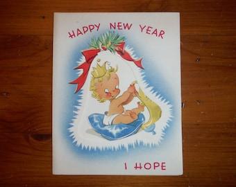 Vintage 1950's Happy New Year Unused Card - 1950's Best Happy New Year Baby Adult Card - '50's Happy New Year Ephemera Greeting Card