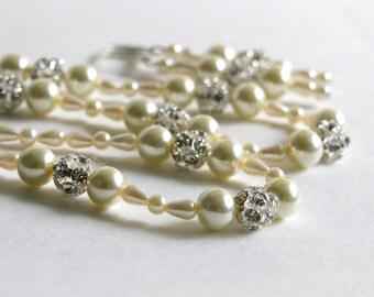 Coffret à bijoux de mariée, collier de perles, boucles d'oreilles, de mariage et Set de Bracelet, strass Sparkle