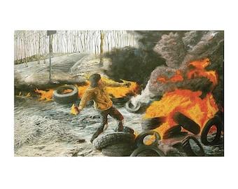 Barricades - oil on canvas - 190X112cm