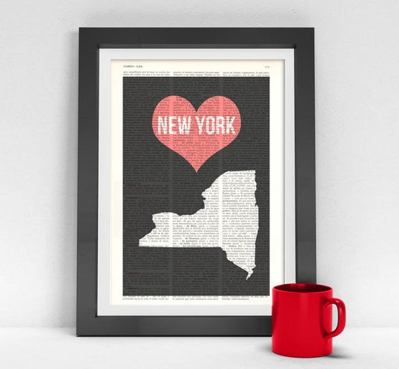 New York State - Vintage Book Print - United States of America Wall Art Print on Vintage Book TVH084