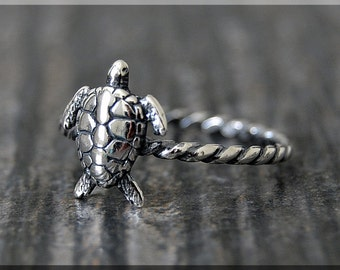 Sterling Silver Sea Turtle Stacking Ring, Stacking Jewelry, Sea Turtle Jewelry, Novelty Ring, Ocean Creature Ring, Turtle Stacker Ring