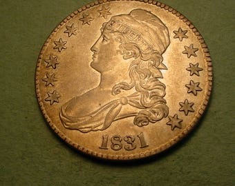1831 Bust Half Dollar Abt Unc Nice <> Insurance Included in SH , Coin you see is the Coin you get <> # ET5997