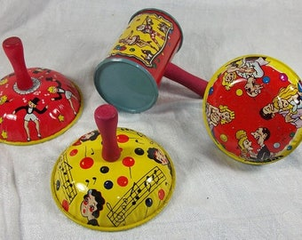 Vinatage Wonderful Set of 4 Noise Makers Party Toys Metal Mid Century