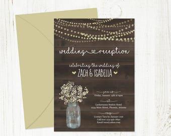 Rustic Reception Only Invitation Template - Printable Wedding Invite - Fairy Lights, Wood, Mason Jar, Baby Breath - Digital Instant Download