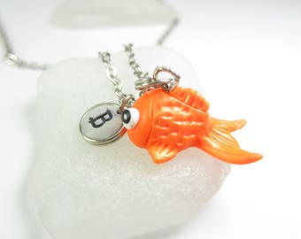 Goldfish necklace, Initial necklace, personalized necklace, goldfish jewelry, cute unique gift, best friend gift, fish necklace, cute animal