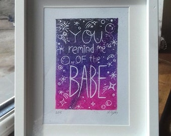 You remind me of the babe, Labyrinth  - small handmade lino print