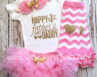 Father's Day Outfit | Daddy's Princess Shirt | My First Father's Day Gift | Daddy's Girl Clothes | Mint Pink Gold Glitter | Tutu Warmers Bow