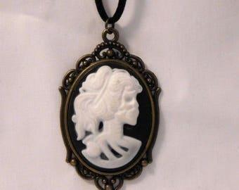 Cameo Necklace, Skeleton Lady