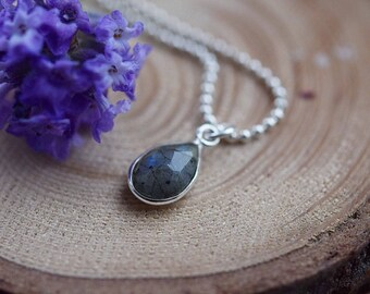 LABRADORITE CHOCKER, tiny labradorite sterling silver chocker necklace