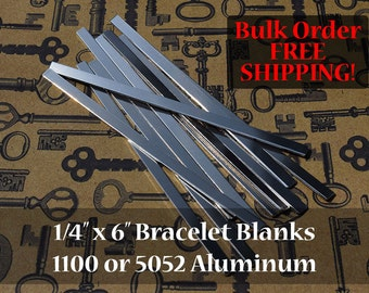 300-1100 or 5052 Aluminum 1/4 in. x 6 in. Bracelet Cuff Blanks - Metal Stamping Blanks - 14G Aluminum - Flat - FREE SHIPPING