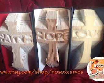 Faith, Hope, Love Folded Book Art Pattern Set of 3
