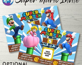 SUPER MARIO Birthday Party Invitation Mario Luigi Super