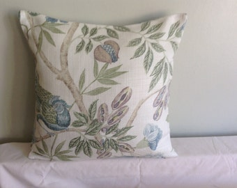 "16"" modern blue, cream, bird, flowered cushion cover, pillow, pillow case, scatter cushion. Pillow sham"