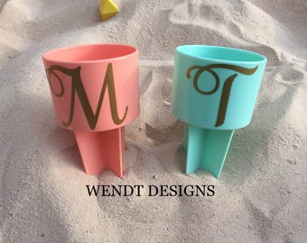 Curly Initial Beach Cup Holder, Beach Spiker, Personalized Spiker, Monogram, Beach Spike, Drink Holder, Sand Spike