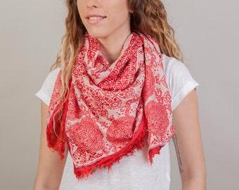 Mandala Silk Scarf, silk scarf, indian scarf, boho scarf, ethnic scarf,bohemian shawl