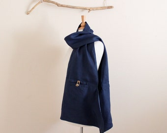 navy blue linen pouch scarf with ginger toggles ready to wear / blue scarf / asian scarf / handmade scarf / neck warmer/ one of the kind /