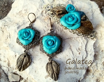 Blue Roses jewelry set Turquoise Roses Earrings Turquoise Barrette Blue flowers jewelry Vintage Roses jewelry set of blue roses jewelry