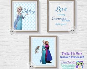 Frozen Wall art print, disney frozen, Printable wall art, Frozen decor, Printable poster, Digital art print, Nursery Wall art, Nursery print