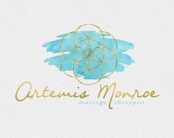 Seed of Life Logo Design , Sacred Geometry Logo , Geometric Logo , Spiritual Logo , Holistic Logo , Watercolor Geometry , Turquoise and Gold