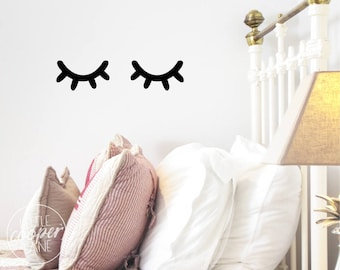 Sleepy Eyes Wall Decal Vinyl Sticker   Closed Eyes Kids Decor   Eyelashes   Baby Boys or Girls Nursery OR Kids Room_ID#1428