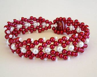 Beaded Bracelet  Red White Glass Pearl Double St Petersburg Stitch