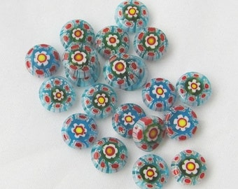 Glass Cane Flower Beads - Blue Red Gray Glass Cane Beads - Glass Beads - Jewelry Making Supplies - DIY Jewelry