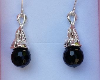 Onyx Silver Earrings ,Sterling Silver Dangle ,Handmade Onyx Earrings ,Women Earrings ,Silver Drop Earrings ,Birthday Gift ,Mother's Day Gift