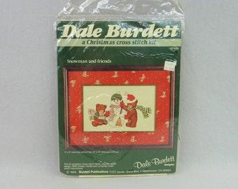 "1985 Christmas Snowman and Bears Kit - Christmas Cross Stitch Kit - Dale Burdett Kit - Vintage 1980s - 6"" x 9"""