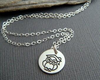tiny silver owl necklace sterling small grad graduation graduate cap pendant spirit animal small simple wisdom symbol jewelry bird charm 1/2