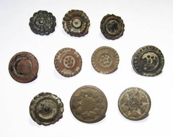 10 Colonial Era Fancy Buttons that can still be worn - the actual Buttons worn then!!!