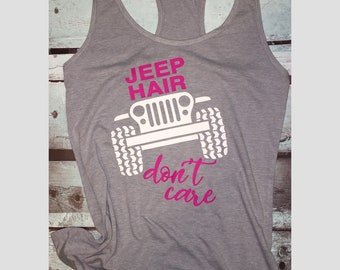 Womans jeep hair racerback tank top, jeep hair dont care, fitness tank top