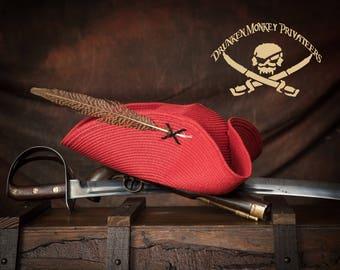 Red Pirate Tricorn Hat, Straw Hat, Pirate Tricorn, Pirate Hat
