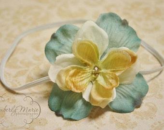 Cream and Blue Vintage Inspired Flower Headband