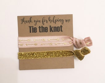 Bridesmaid hair tie favors//hair tie card, party favor, bachelorette gift, bride, wedding, bridesmaid gift, bachelorette gift, bridesmaid