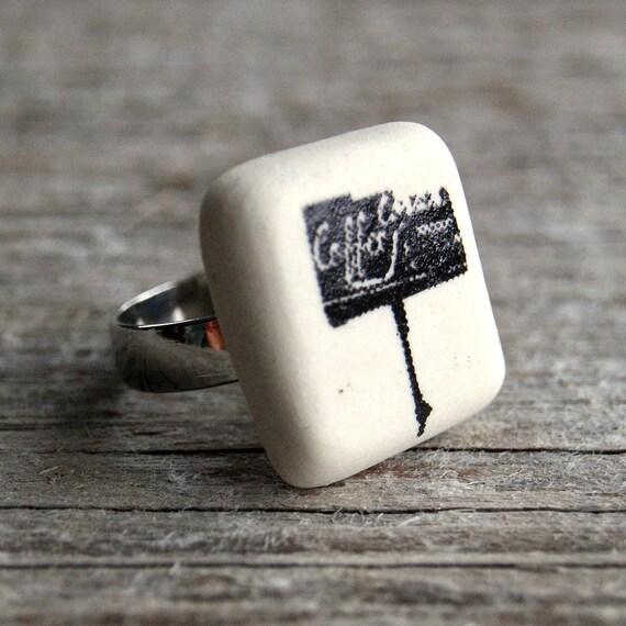 Coffee shop sign print semi porcelain adjustable ring