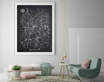 GREENVILLE South Carolina Chalkboard Map Art Black and White SC Vintage City Map Graphic Detailed Scheme Street Map Wall Art Decor