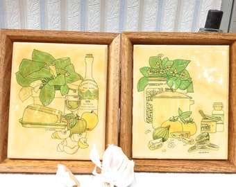 "Ceramic Trivets,  Italian Kitchen Decor,  Vintage Napa Valley Art, Framed Wall Plaques, Artist signed ""b.b la femme"""