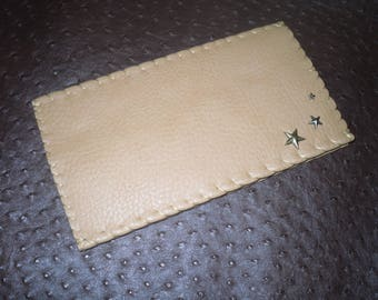 checkbook, faux leather, natural