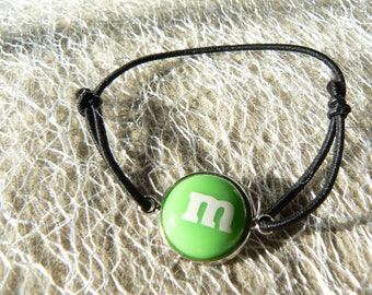 M bracelet & me bow green s sliding belly cabochon 14mm