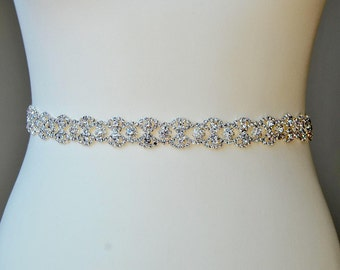 Thin Full Length Bridal Belt, Rhinestone Belt, Flower Girl Bridesmaid Gift Sash belt Crystal Dress Sash Belt, thin Bridal Belt, Wedding Belt