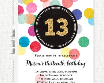 13th birthday invitations for girls, printable rainbow and gold glitter teen birthday party invite, customized digital file, confetti design