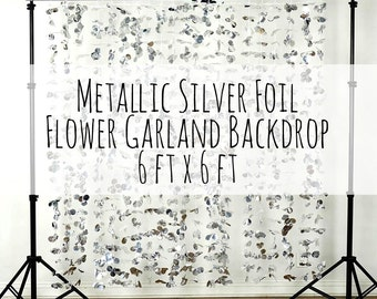 Flower Garland Backdrop, Metallic Silver Flower Wall, Photo Backdrop, wall/photo prop/wedding decorations/party decoration/nursery decor