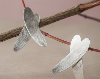 Pendientes de plata estilo boho, pendientes pequeños, Pendientes hojas de plata, Pendientes orgánicos plata