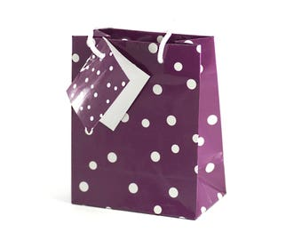 5 bags pouches - Gifts - Sun. 13.6 x 11.1 cm - cord - Eggplant color with white polka dot gift bag