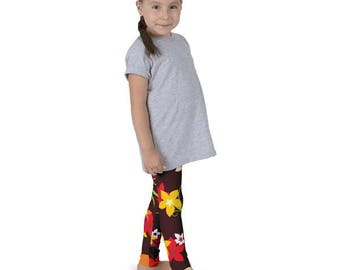 Kid's fall leggings, Autumn flower leggings