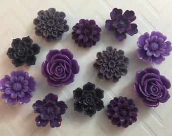 Flower Magnets Set of 12 - (#LE16) dorm decor, hostess gift, weddings, bridal shower, baby shower, gift, teacher gift